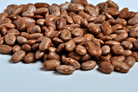 A pile of pinto beans sits on a plain background. Imagens