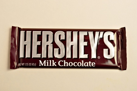 hershey's: A Hersheys candy bay is laying on a white background. Editorial