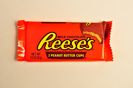 December 22, 2011. A packages of Reeses peanut butter cups sit on a white background.