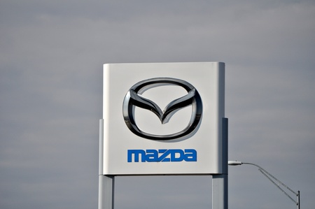 Mazda sign and logo outdoors display on December 23 2011.