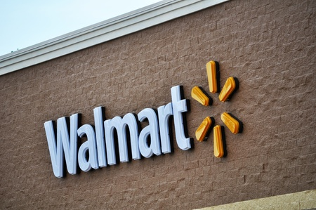 Walmart sign  displayed on their store in Tyler Texas, January 21, 2012