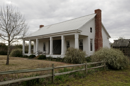 A early east Texas farmhouse from around the 1870s after being restored and in use as a museum.
