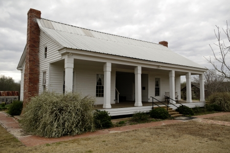 restored: A early Texas farmhouse from around the 1870s after being restored and in use as a museum. Editorial