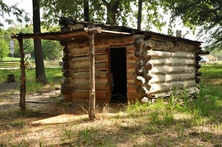 prisoner of war: A reconstructed prisoner of war log cabin at Camp Ford Confederate POW Camp