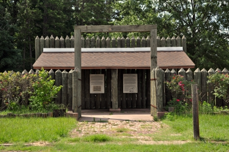 pow: The reconstructed entrance to Camp Ford American Civil War POW Camp.