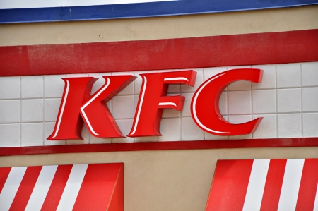 A view of the logo of Kentucky Fried Chicken now called just KFC taken in Tyler Texas in June 2012.