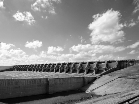 Black and White image of a small dam, fall 2012.    photo