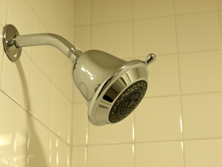 A shower head in a tile bathroom.