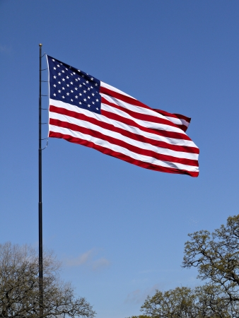 A American flag flying.