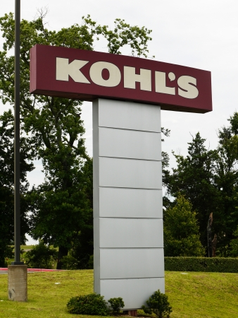 A image of Kohls department store sign outside of the Tyler Texas store.