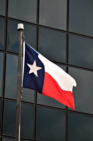 A texas state flag is blewing in the wind outside a office building in downtown Tyler Texas.