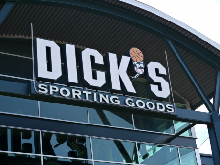 Dicks Sporting Goods Store sign in Arlington Texas on a overcast day