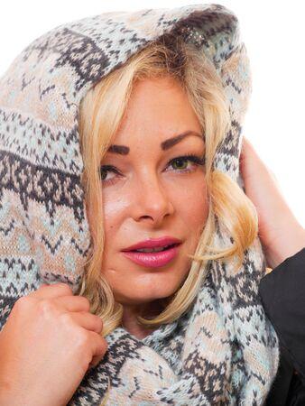 Headshot of beautiful woman dressed for winter.