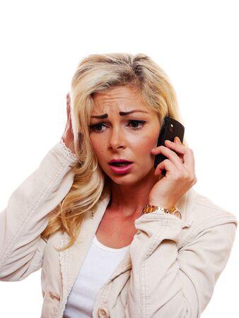 Beautiful woman on the phone worried.