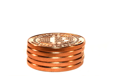 crypto: Bitcoin Stack, Crypto Coins, White Stock Photo