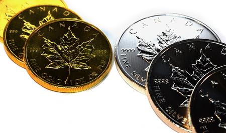 silver bullion: Gold and Silver Bullion Coins Stock Photo