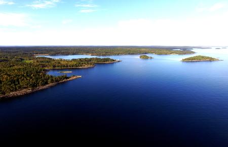 shorelines: Aerial View of Lake Superior, Islands, Rocky Shorelines, Copyspace