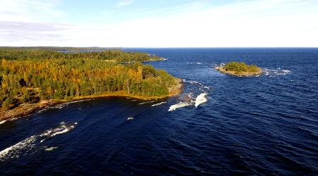 shorelines: Aerial View of Lake Superior, Islands, Rocky Shorelines Stock Photo