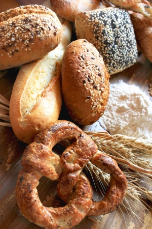 gold flax: assortment of baked bread, with seeds or simple and pretzels
