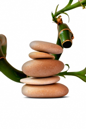massage spa stones and bamboo, spa concept photo