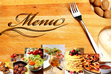 restaurant menu with all kind of recipes and food