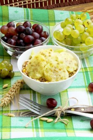 musli: Breakfast with musli and fruits