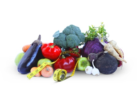 measurement tape: Vegetables and measurement tape Stock Photo