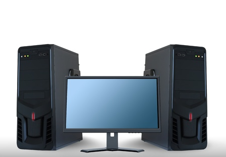 Computer servers and lcd monitor Stock Photo - 16800679