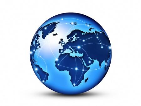 conexiones: Globo del mundo interconectados por cables de fibra �ptica