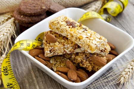 Muesli bars and almonds,diet concept
