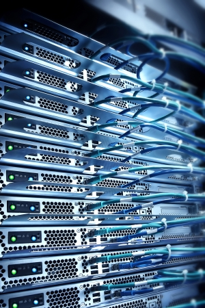cable red: servidor conectado con cables, el concepto de computaci�n