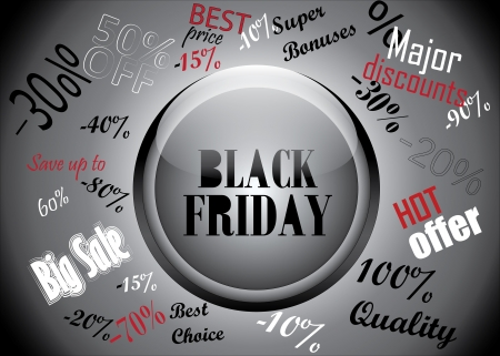 Black Friday Button And Discounts Concept  Vector