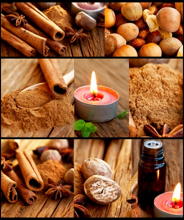 Spices collage with cinnamonsticks and powder,nutmeg,aromatheraphy candles,essence  photo