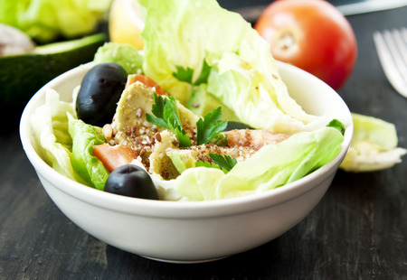 Bowl of Healthy Salad with Vegetables and Seeds  photo