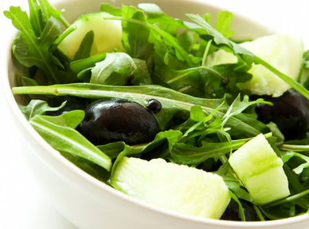 roquette: Fresh Green Salad with Salad, Olives and Balsamic Vinegar