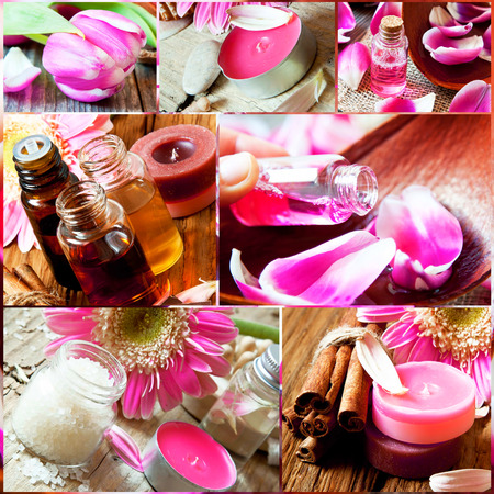 Aromatherapy and Spa Collage with Essential Oil Bottles, Flower,Sea Salt,Candles Imagens