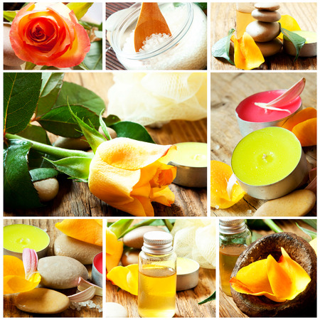 bathsalt: Aromatherapy and Spa Collage with Essential Oil Bottles, Flower,Sea Salt,Candles Stock Photo