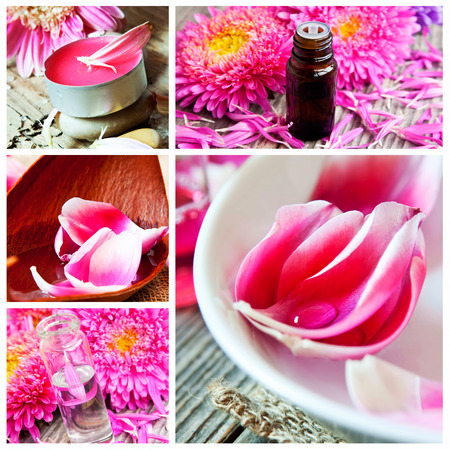 bathsalt: Aromatherapy and Spa Collage with Essential Oil Bottles, Flowers,Candles Stock Photo