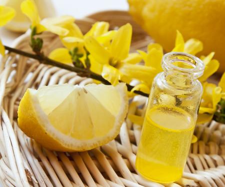 Lemon Essential Oil with Yellow Flowers,Transparent Bottle with Lemon Essence