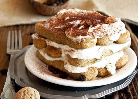 Delicious Italian Tiramisu with Mascarpone Cream and Cappuccino