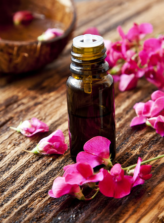 Floral Essential Oil, Beautiful Pink Flowers with Essence Bottle