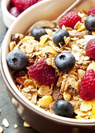 frutas secas: Muesli Taz�n para el desayuno con ar�ndanos y frambuesas Foto de archivo
