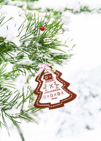 Fir Tree Branch with Snow And Christmas Decoration photo