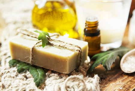 Olive Oil Spa Therapy Setting , Wellness Treatment with Olive Oil Products