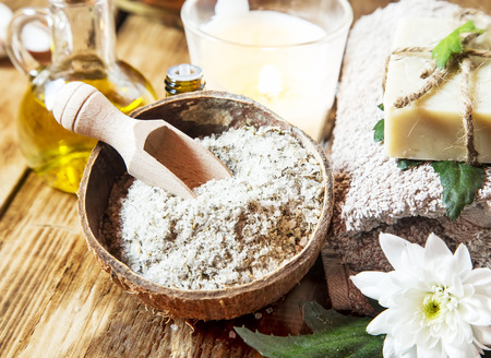 bath and body: Sea Salt Treatment with Dried Flowers, Olive Oil, Esential Oils for Wellness Therapy