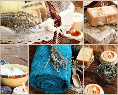 productos naturales: Natural Spa y Wellness collage de cuatro Spa Fotografía Sesiones y Body-Care Productos