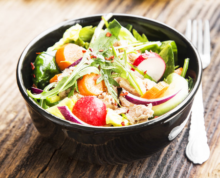 Healthy Organic Tuna Fish Salad with Fresh Vegetables Bowl photo