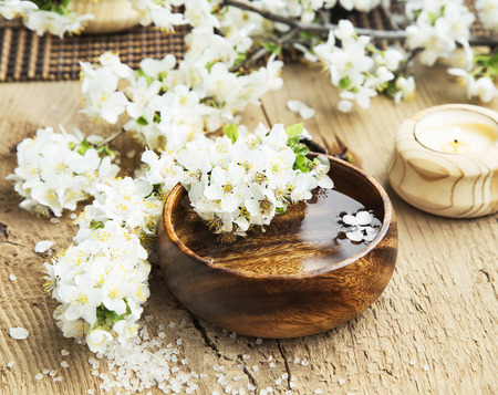 Spa Setting with White Flower Blossom in a Wooden Water Bowl and Sea Salt Reklamní fotografie