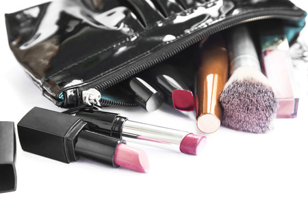 Makeup Products and Beauty Bag Isolated