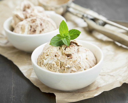 Tiramisu Icecream Decorated with Mint in Dessert White Bowls Imagens